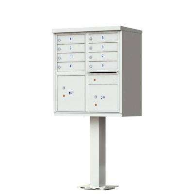 8 Mailboxes 2 Parcel Lockers 1 Outgoing Mail Compartment Pedestal Mount Cluster Box Unit
