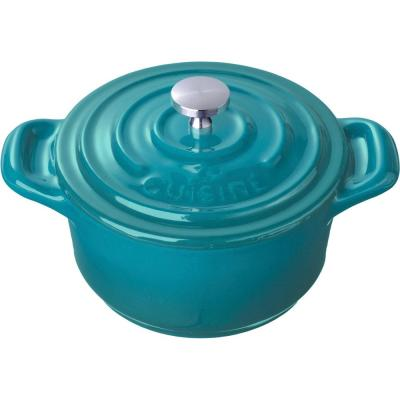 Mini Round 4 in. Cast Iron Casserole in High Gloss Teal