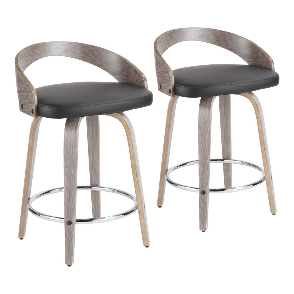 Lumisource Grotto 24 in. Light Grey and Black Faux Leather Counter Stool (Set of 2), Black/Light Gray was $295.69 now $166.84 (44.0% off)