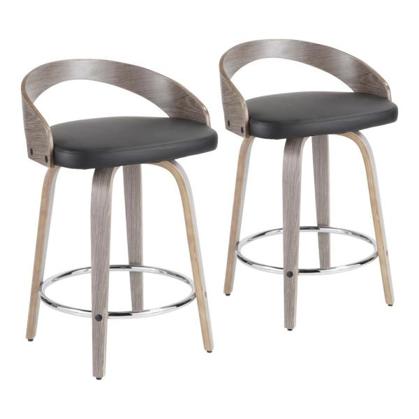Lumisource Grotto 24 In Light Grey And Black Faux Leather Counter Stool Set Of 2 B24 Grottor Lgy Bk2 The Home Depot