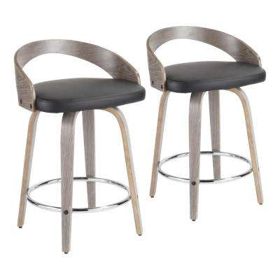 Grotto 24 in. Light Grey and Black Faux Leather Counter Stool (Set of 2)