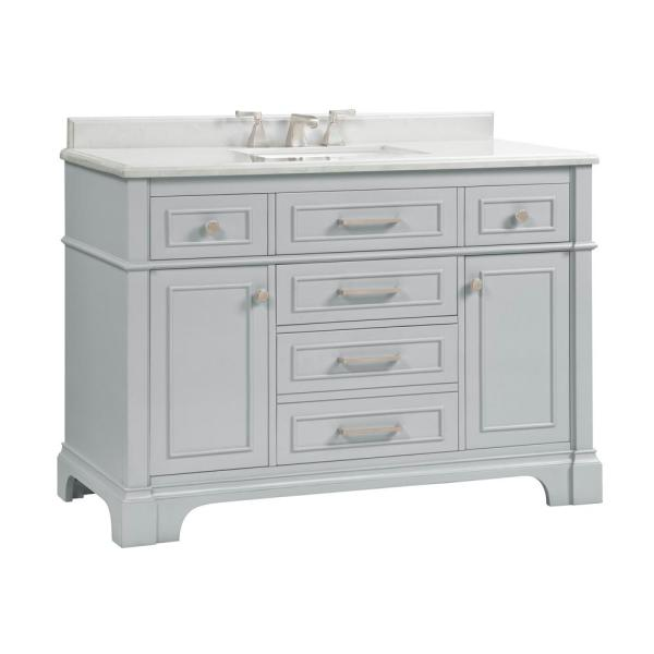 Home Decorators Collection Melpark 48 In W X 22 In D Bath Vanity In Dove Grey With Cultured Marble Vanity Top In White With White Sink Melpark 48g The Home Depot