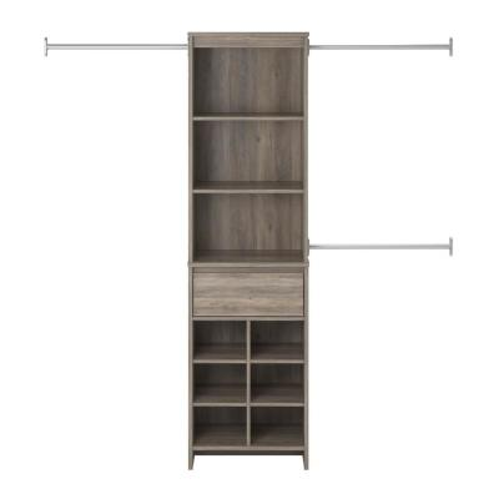16 in. D x 89 in. W x 77 in. H Gray Oak Amherst Mount Closet System