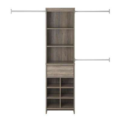 16 in. D x 89 in. W x 77 in. H Gray Oak Amherst Mount Closet System
