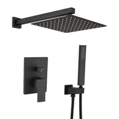 Shower System Wall Mounted with 10 in. Square Rainfall Shower head and Handheld Shower Head Set, Matte Black