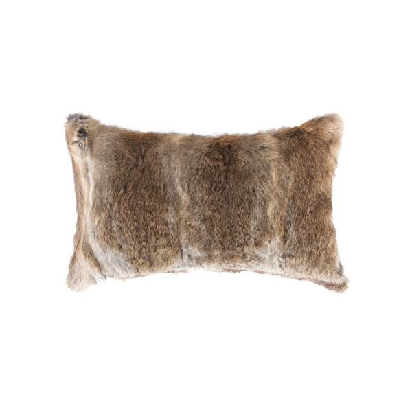 natural Rabbit Fur 12 in. x 20 in. Hazelnut Pillow 676685047120
