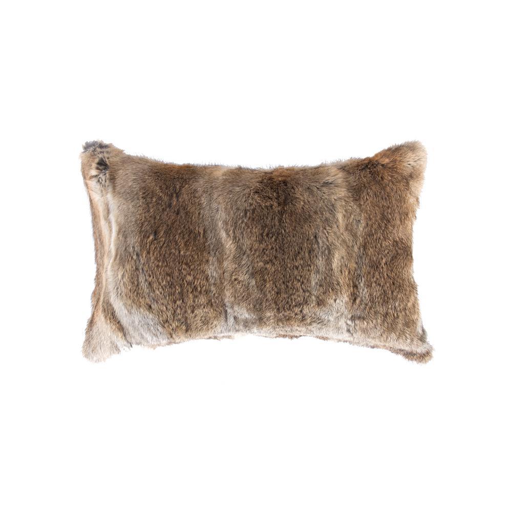 natural Rabbit Fur 12 in. x 20 in. Hazelnut Pillow