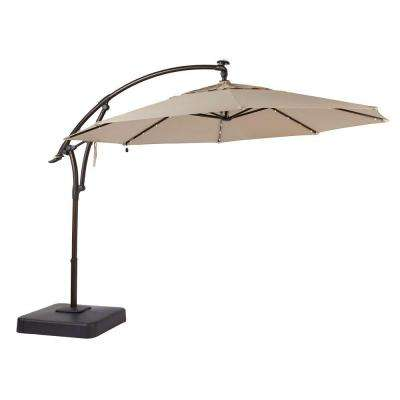11 ft. LED Offset Patio Umbrella in Sunbrella Sand