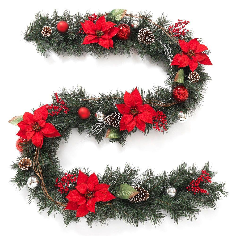 Twig Pine Red Poinsettia Garland with Pinecones, Berries and Ball Ornaments