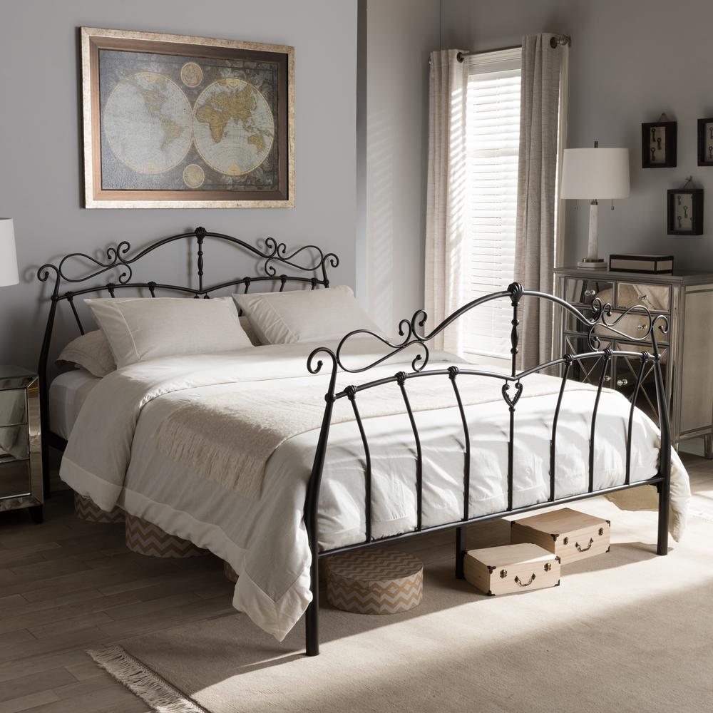 Selena Vintage Industrial Black Metal Full Size Bed