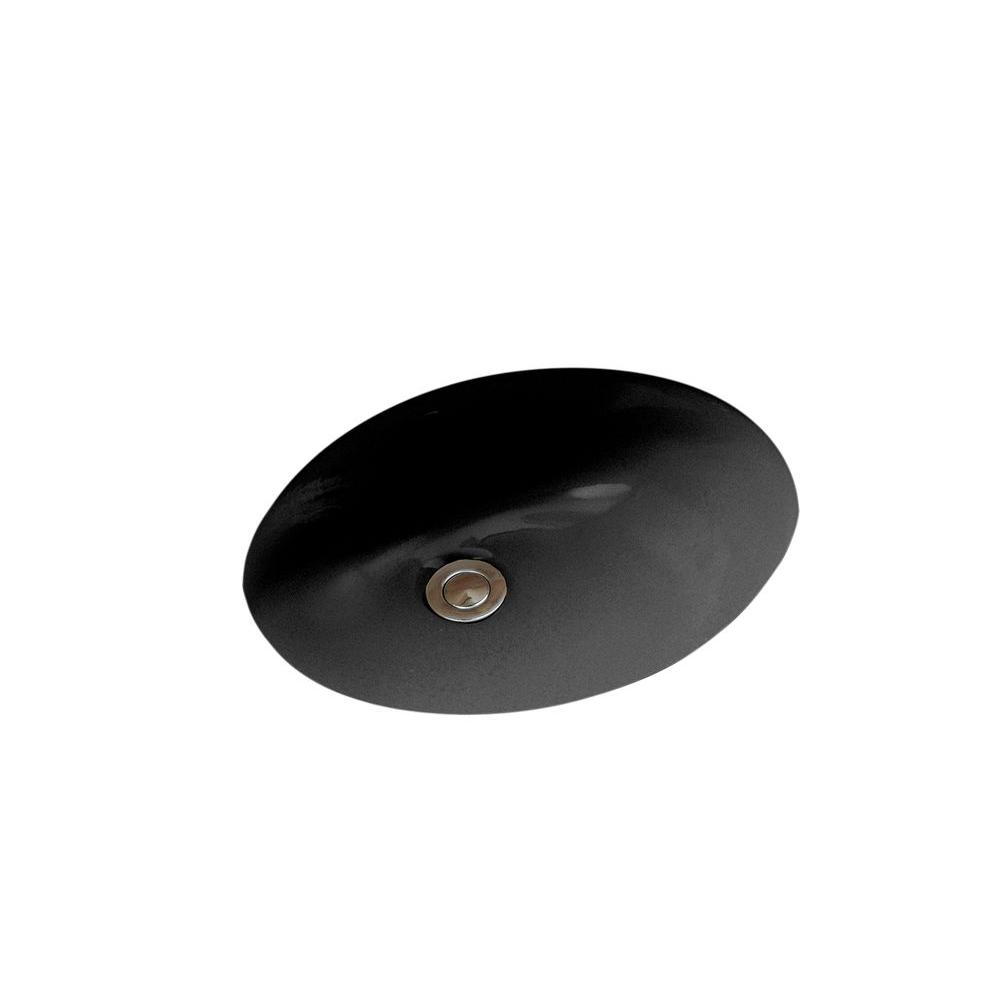 Caxton Vitreous China Undermount Bathroom Sink In Black With Overflow Drain