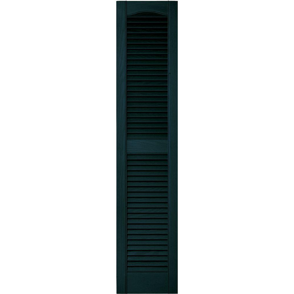 12 in. x 55 in. Louvered Vinyl Exterior Shutters Pair in
