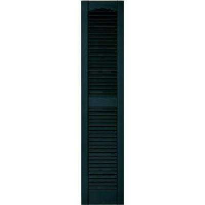 12 in. x 55 in. Louvered Vinyl Exterior Shutters Pair in #166 Midnight Blue