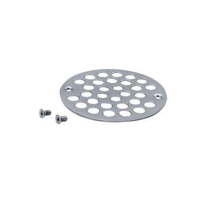 4 in. O.D. Shower Strainer Cover Plastic-Oddities Style in Polished Chrome