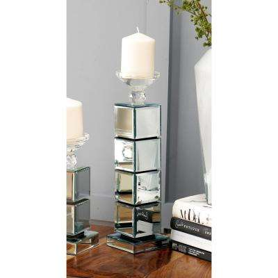 16 in. 4-Stack Mirrored Cube Candle Holder