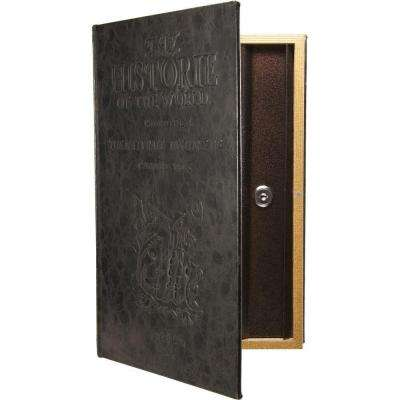 0.10 cu ft. Steel Large Antique Book Lock Box Safe with Key Lock