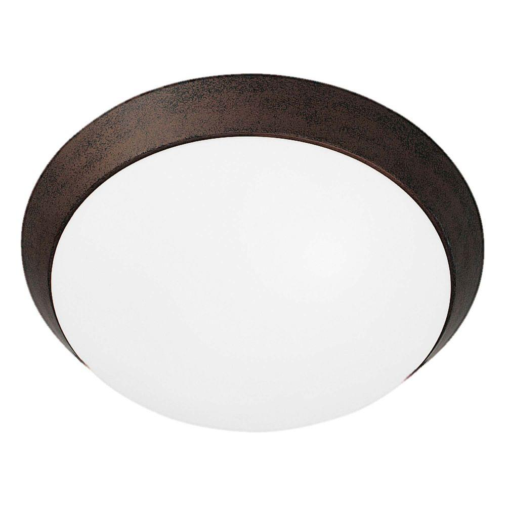 Access Lighting 1-Light Flush Mount Rust Finish Opal Glass -DISCONTINUED