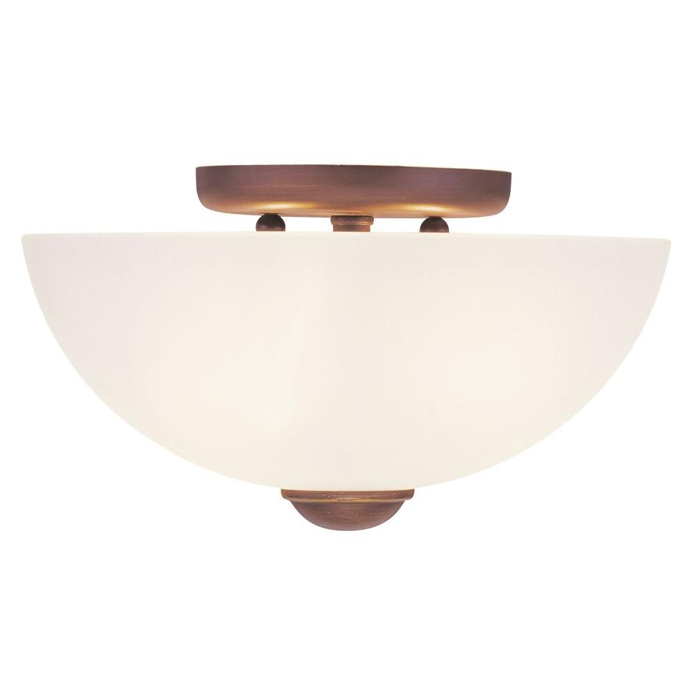Livex Lighting 2-Light Bronze Flushmount with Satin Glass Shade