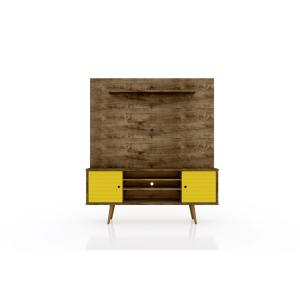 Liberty 63 in. Rustic Brown and Yellow Freestanding Entertainment Center