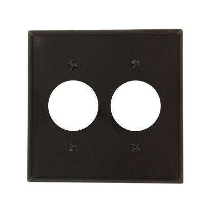 2-Gang 2 Single Receptacles, Standard Size Plastic Wall Plate - Brown