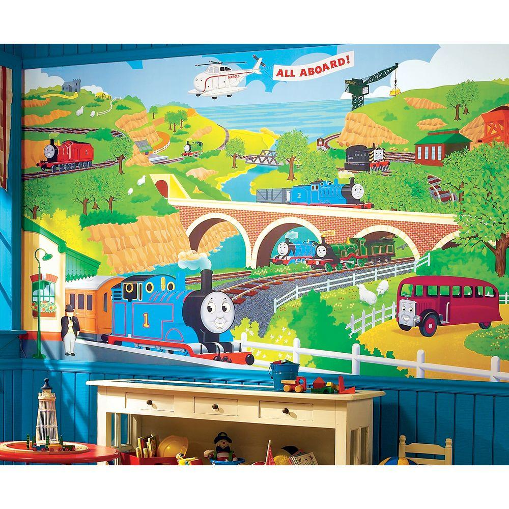 10.5 Ft X 6 Ft Thomas The Train Chair Rail Ultra Strippable Prepasted  Mural YH1418M   The Home Depot