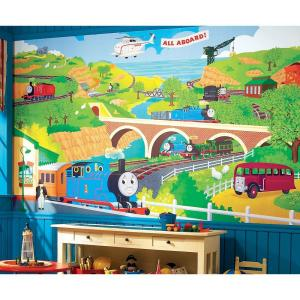 10 5 Ft X 6 Ft Thomas The Train Chair Rail Ultra Strippable Prepasted Mural
