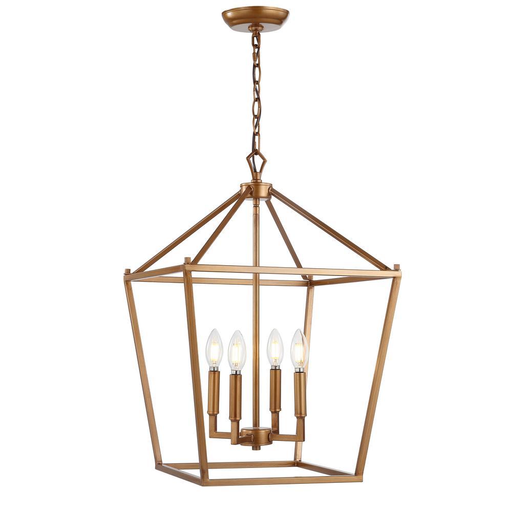 Pagoda 16 in. 4-Bulb Antique Gold Lantern Metal LED Pendant