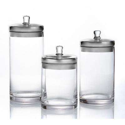 Small Medium Large Glass Canisters with Silver Lids