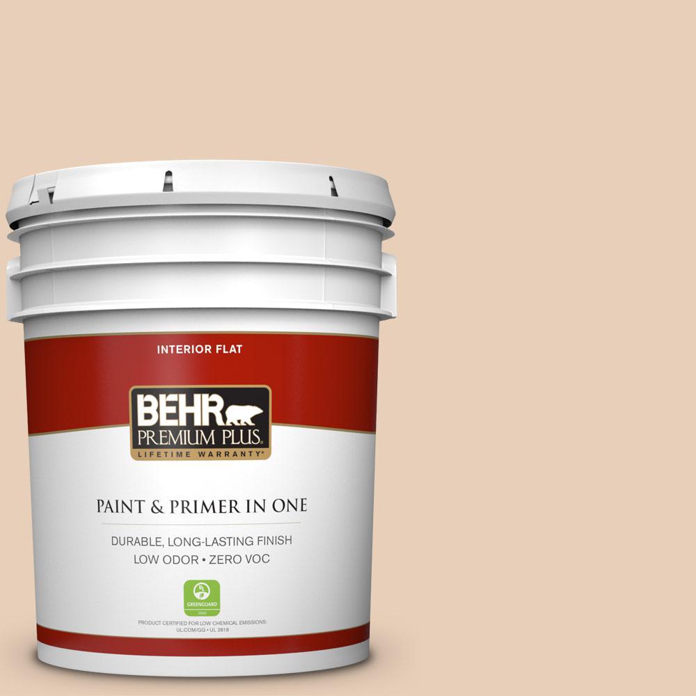 BEHR Premium Plus 5-gal. #S230-1 Buff Tone Flat Interior Paint