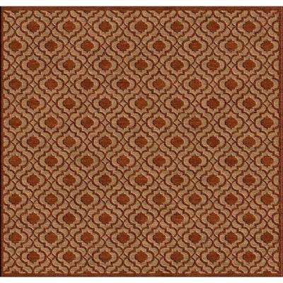 Mangiu Rust 8 ft. x 8 ft. Square Indoor/Outdoor Area Rug