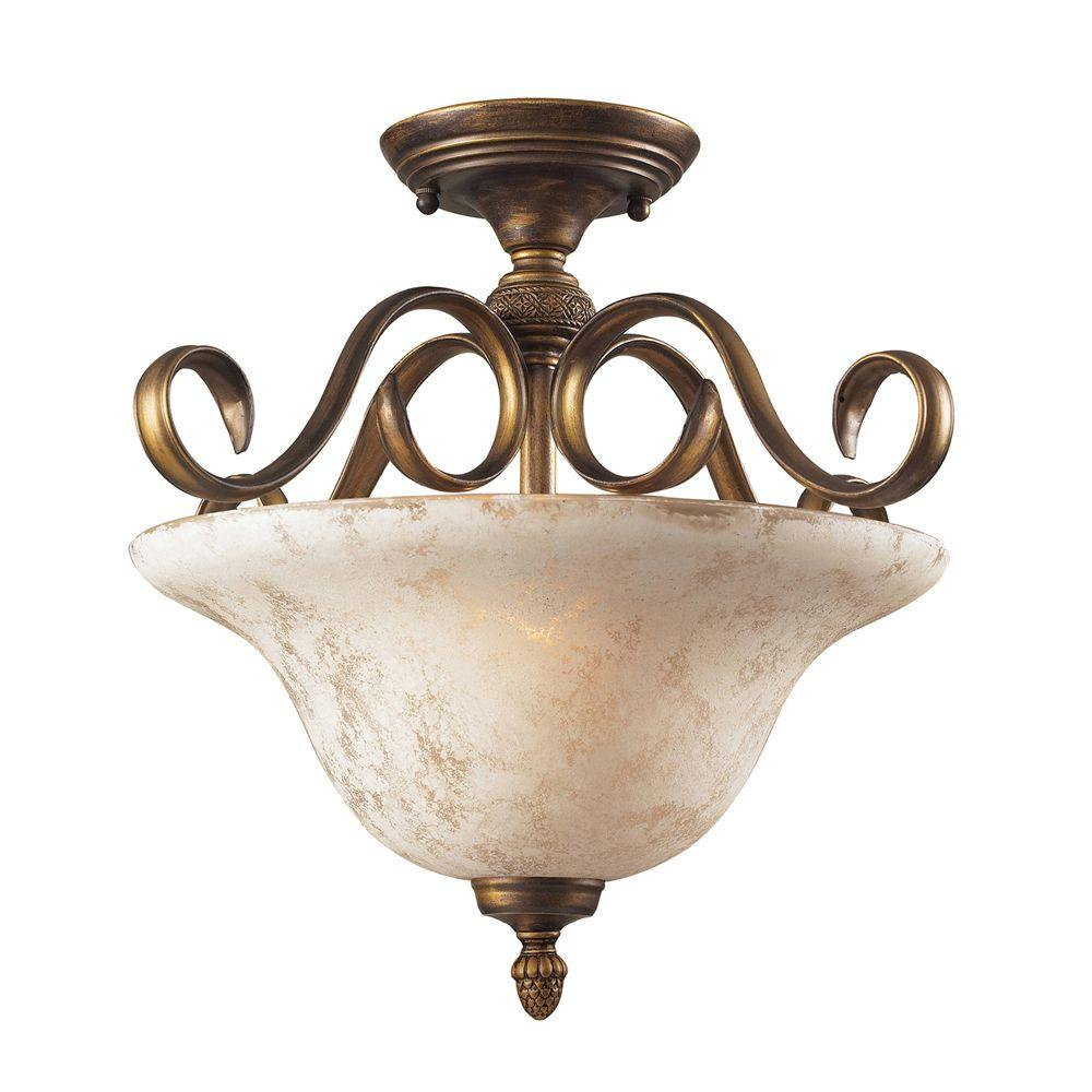 Titan Lighting Briarcliff 2-Light Ceiling Weathered Umber Semi-Flush Mount