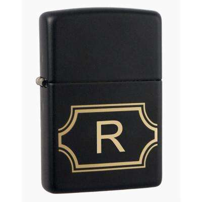 "Black Matte Lighter with Initial ""R"""