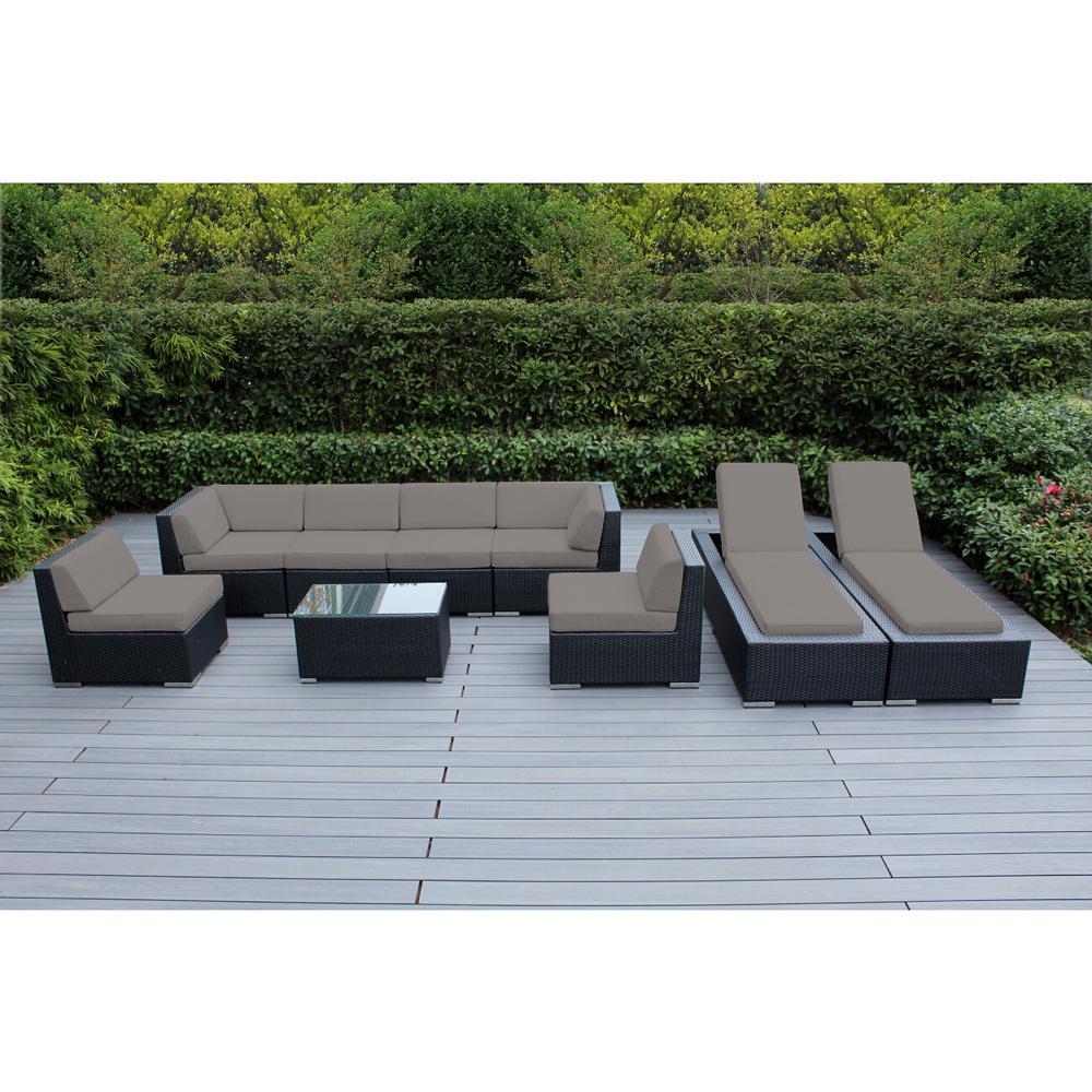 Black 9-Piece Wicker Patio Combo Conversation Set with Sunbrella Taupe Cushions