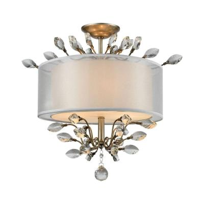 Asbury 3-Light Aged Silver LED Semi Flush Mount