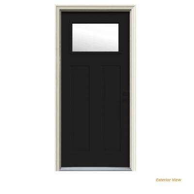 32 in. x 80 in. 1 Lite Craftsman Black w/White Interior Steel Prehung Left-Hand Inswing Front Door w/Brickmould