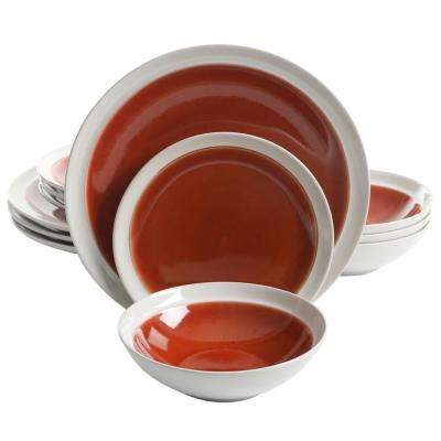 Clementine 12-Piece Red Dinnerware Set