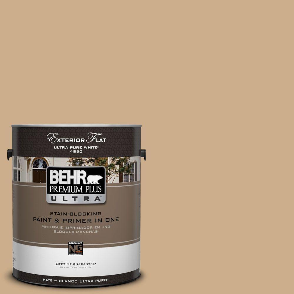 BEHR Premium Plus Ultra 1-Gal. #UL160-5 Raffia Ribbon Flat Exterior Paint