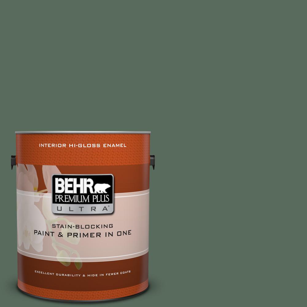1 gal. #450F-6 Whispering Pine Hi-Gloss Enamel Interior Paint