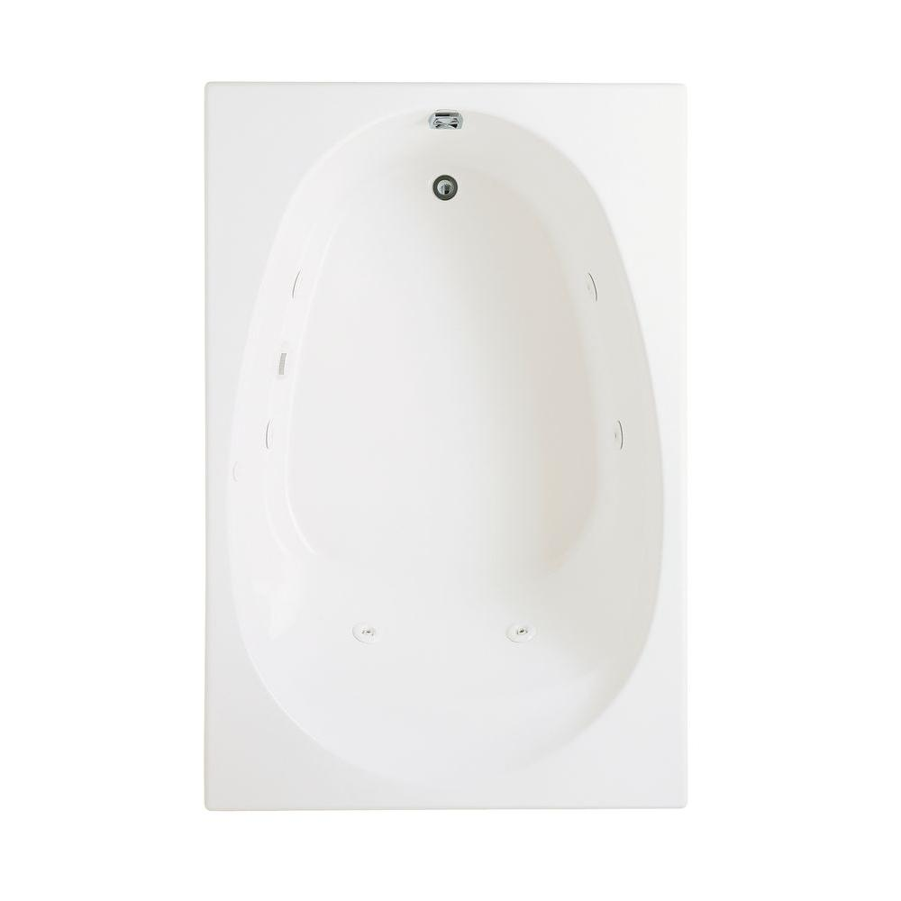 KOHLER Seadream 6 ft. Drop-In Whirlpool Tub with Heater and Reversible Drain in White-DISCONTINUED