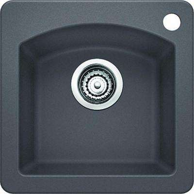 Diamond Drop-in Undermount Granite Composite 15 in. 1-Hole Single Bowl Bar Sink in Cinder