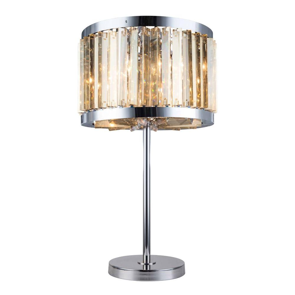 Chelsea 32 in. Polished Nickel Table Lamp with Golden Teak Smoky