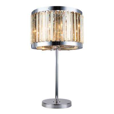Chelsea 32 in. Polished Nickel Table Lamp with Golden Teak Smoky Crystal