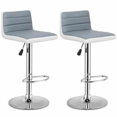 Set of 2 39 in. Gray Bar Stools Adjustable Barstool PU Leather Swivel Pub Chairs Armless New