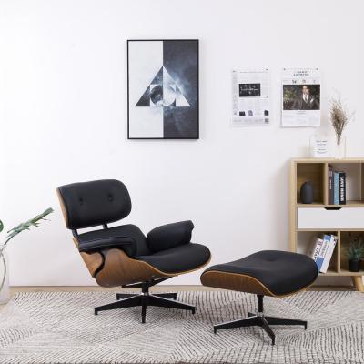 Marseille Black Synthetic Leather Swivel Lounge Chair with Ottoman