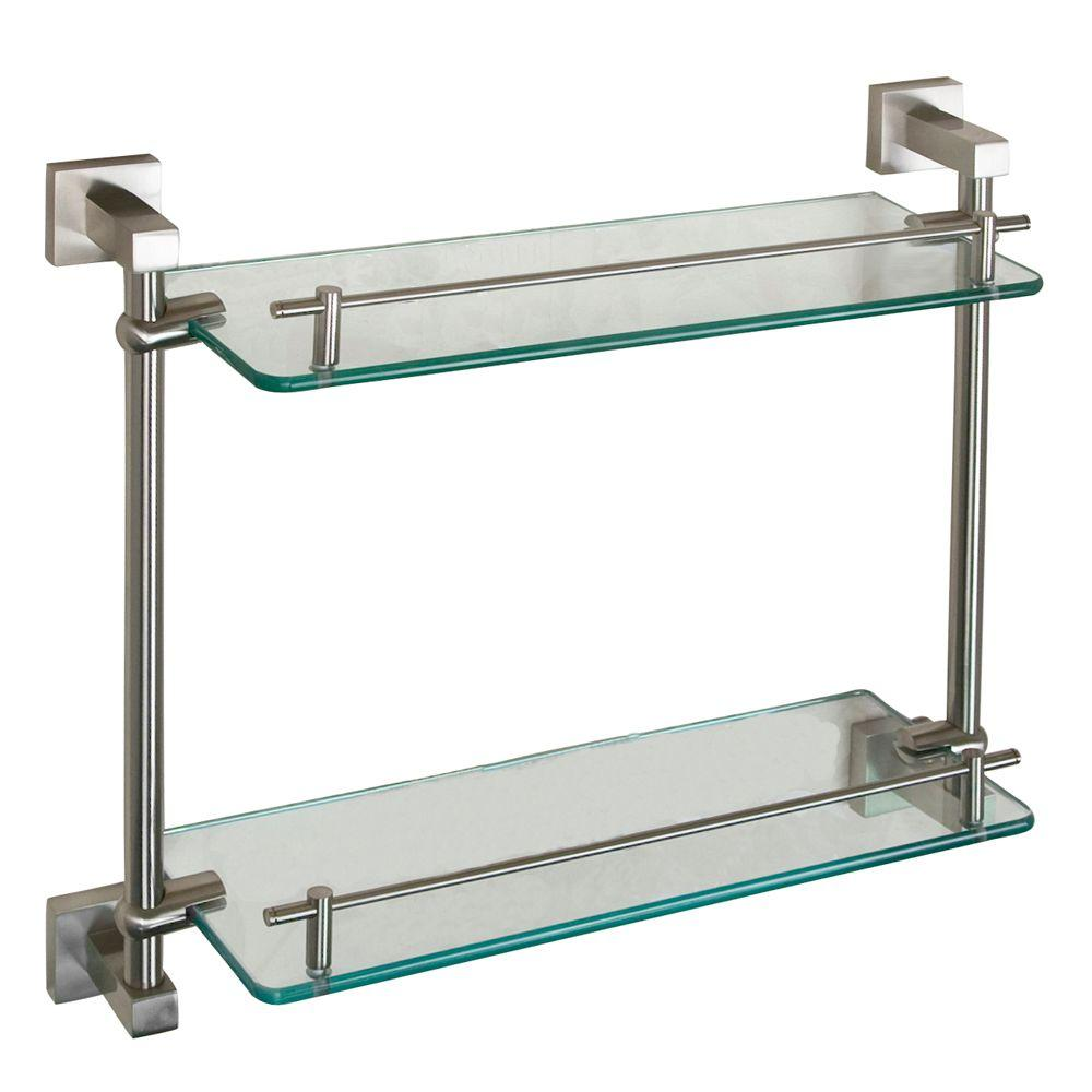 Barclay Products Jordyn 17 in. W Double Shelf in Glass and Brushed Nickel