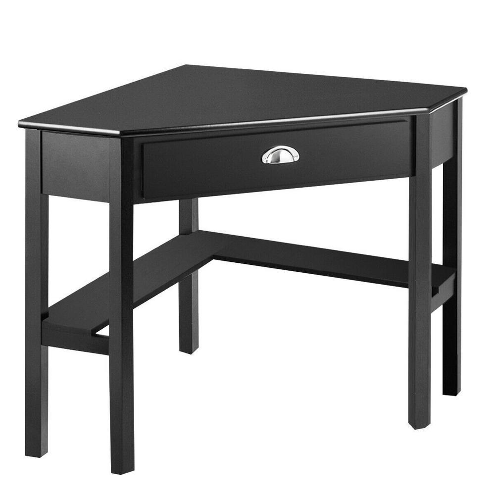 Corner Brown Computer Desk Laptop Writing Table Wood Workstation Home Office Furniture