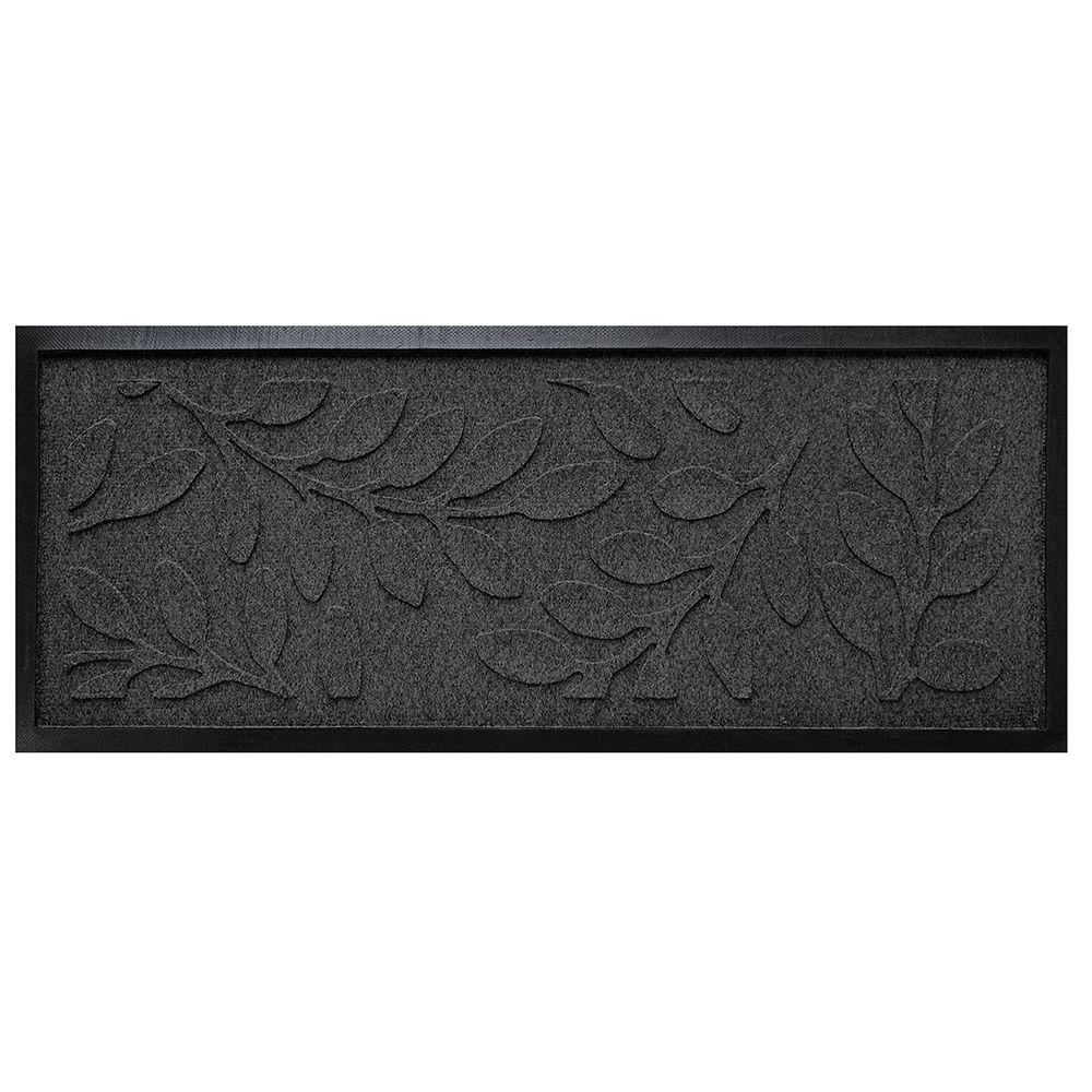 Charcoal 15 in. x 36 in. Brittany Leaf Boot Tray