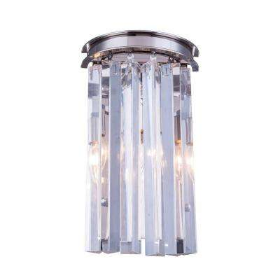 Sydney 2-Light Polished Nickel Wall Sconce with Clear Crystal