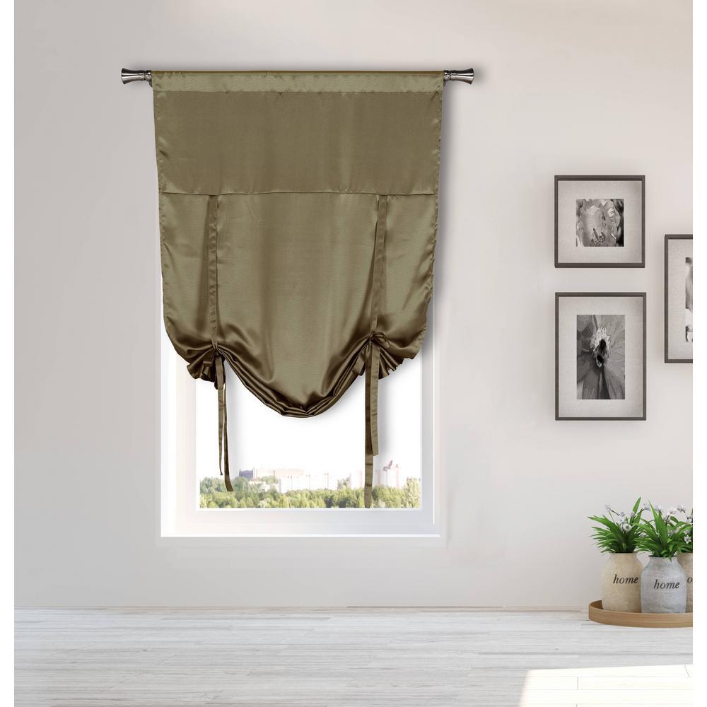 Irene Taupe Tie-up Room Darkening Curtain - 38 in. W x 63 in. L (2-Piece)