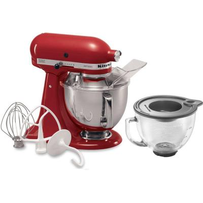 Artisan 5 Qt. 10-Speed Empire Red Stand Mixer with Flat Beater, 6-Wire Whip and Dough Hook Attachments